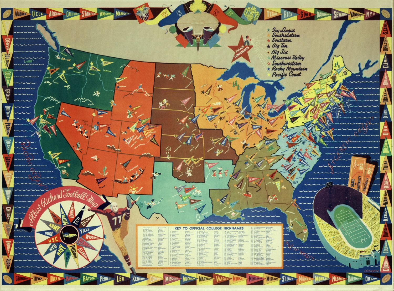 1938 College Football Map Ilustrated LARGE Full