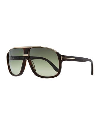 bfe50a37bd Elliot-style Tom Ford aviator sunglasses with metal inset at top edge.  Acetate frames. Signature Tom Ford T inset at temples. Gradient lenses.