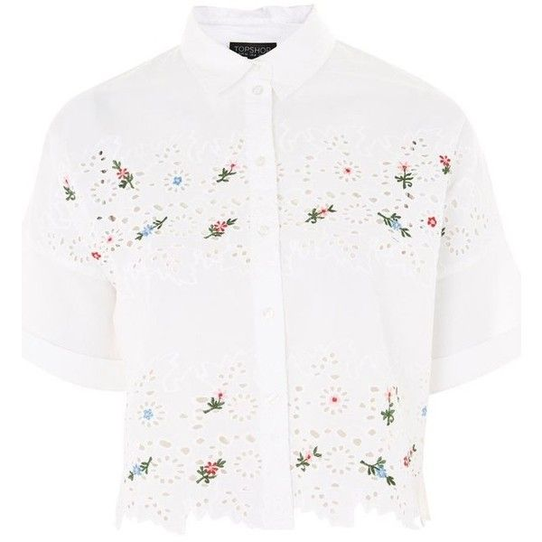 white oversized floral embroidered shirt dress front ...
