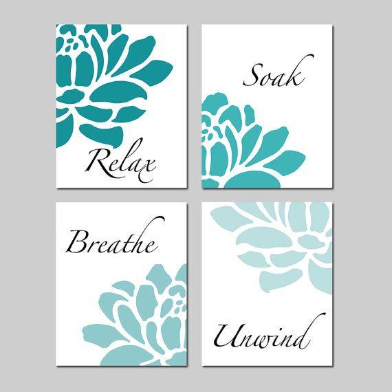 Aqua teal sea floral bathroom art relax soak breathe for Teal bathroom decor