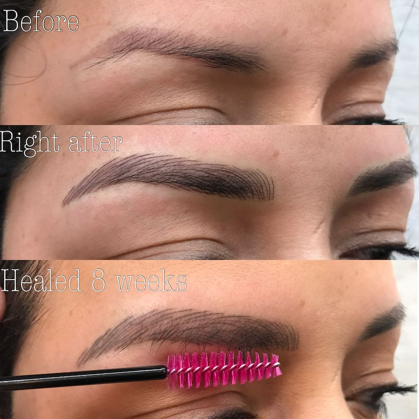 Eyebrow tattoo cover up with microblading con immagini