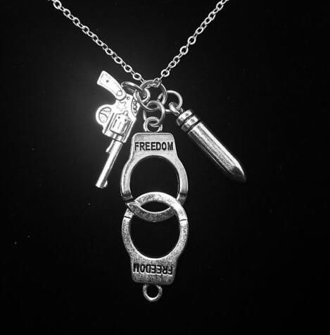 Police handcuff bullet gun necklace pendant charms vintage silver police handcuff bullet gun necklace pendant charms vintage silver collar statement choker for women jewelry accessories aloadofball Image collections
