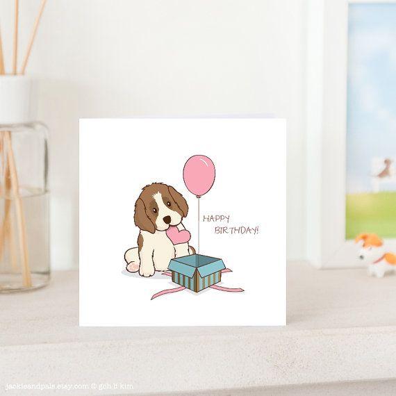 Dog Birthday Card Cute St Bernard Puppy With Love And Etsy Dog Birthday Card Cute Birthday Cards Dog Birthday