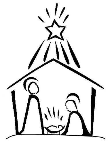 Christmas Stable Drawing.Nativity Line Drawing Cards Christmas Doodles Christmas