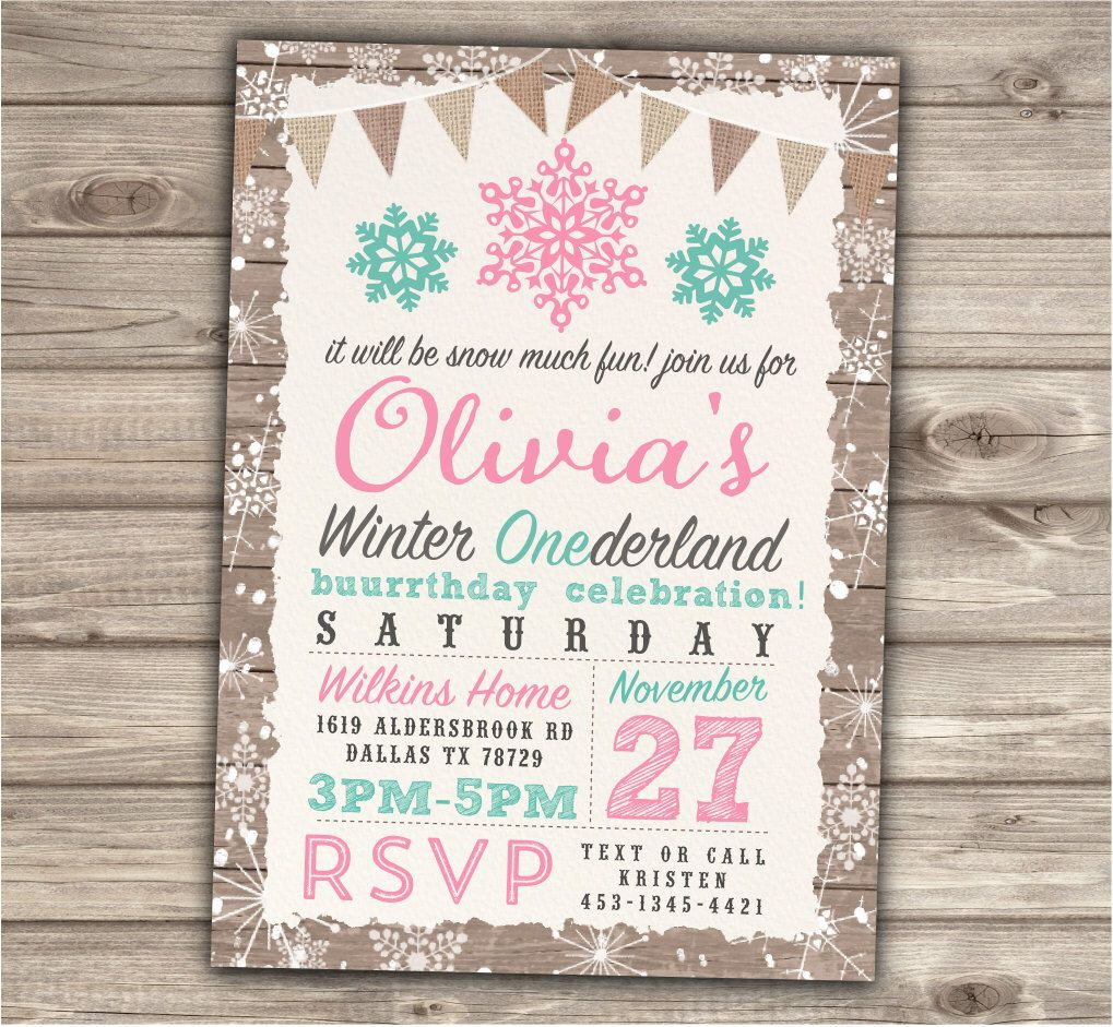 Winter Onederland Invitations Birthday 1st Party Our Little Shabby ...