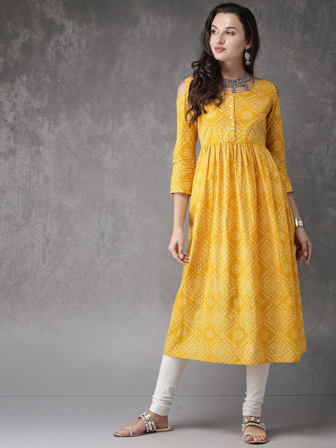 2a9ff48a1 Buy Anouk Women Mustard Yellow   Off White Printed Anarkali Kurta - Kurtas  for Women 2323228