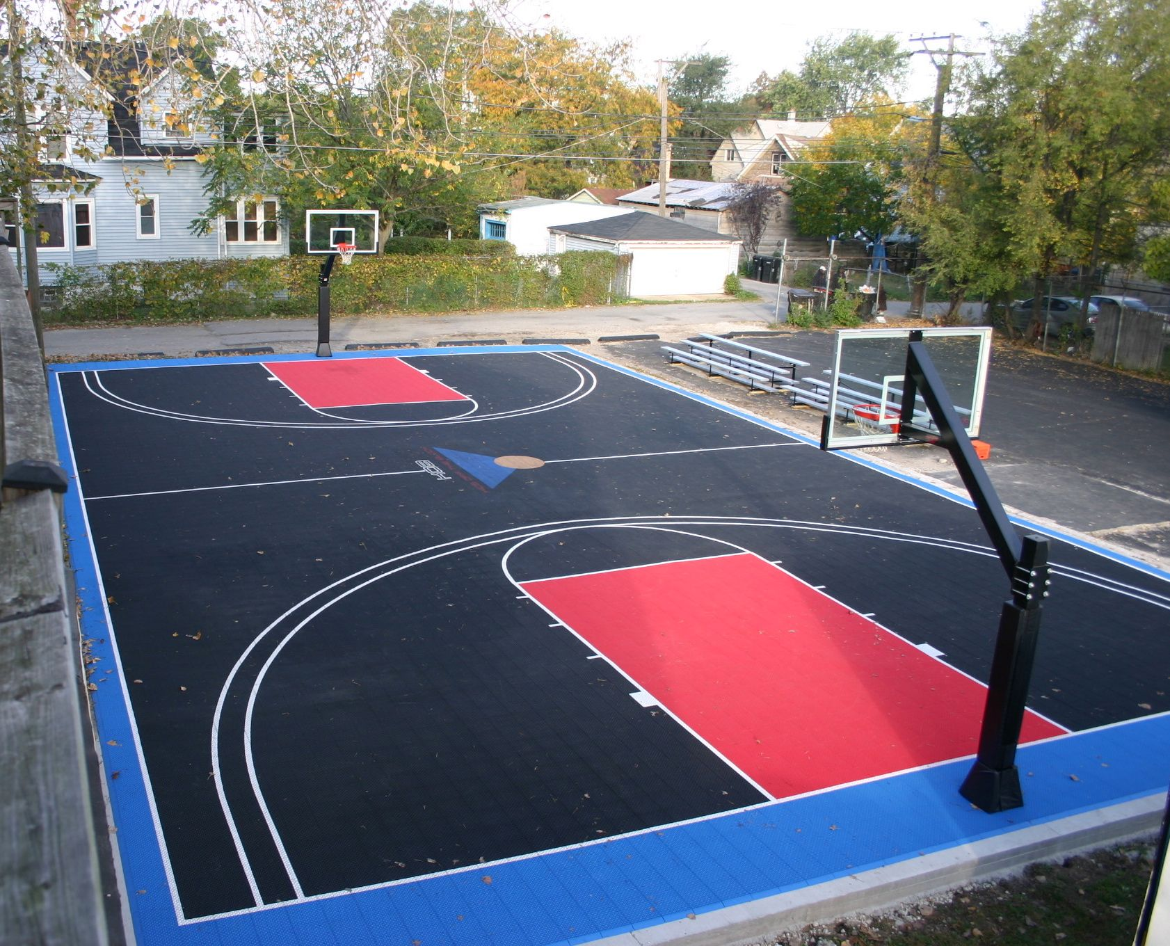 Diy basketball court stencil hoops blog clipgoo modern for How much to make a basketball court