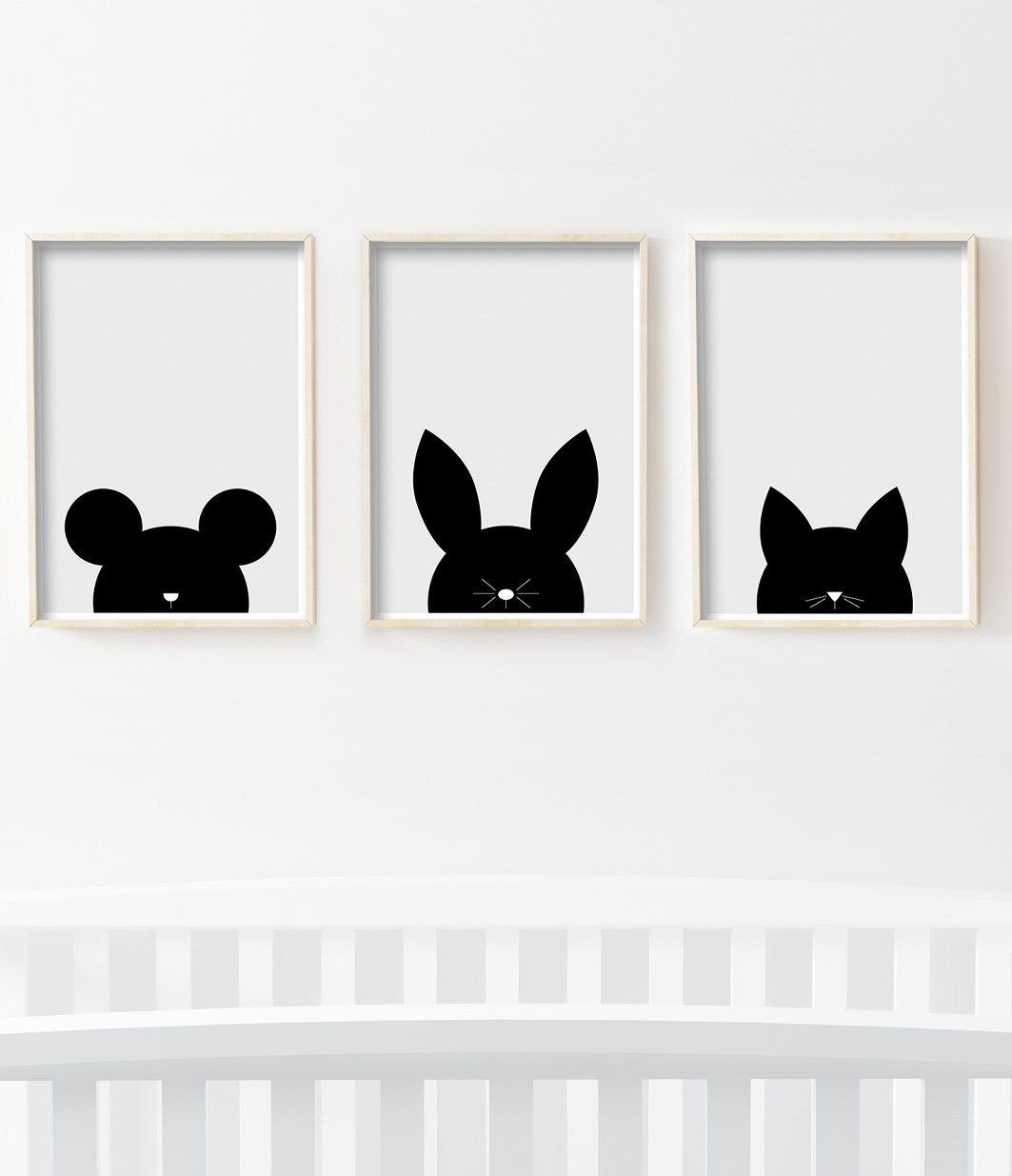 Items Similar To Nursery Rabbit Print Kids Room Bunny Art Minimalist Black And White Printable