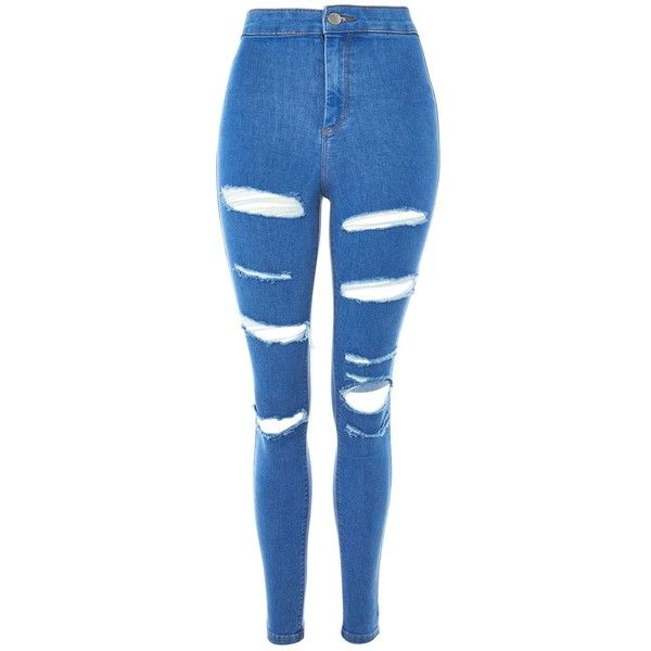29f46d345fe TopShop Moto Deep Blue Super Rip Joni Jeans ( 75) ❤ liked on Polyvore  featuring jeans