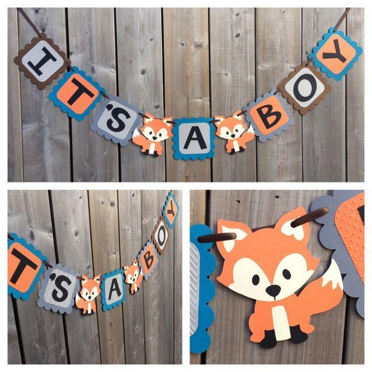 Amazing ITu0027S A BOY Fox Banner   Fox Shower Banner   Fox Themed Banner   Fox Themed Baby  Shower   Blue Orange Fox Banner, Fox Baby Shower Decorations