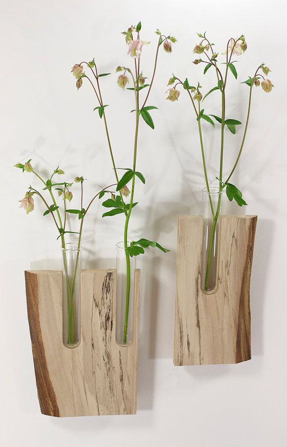 Wall Decor W Allflowers Garden Wall Vase Vases Shelf Shelving Flower Display Live Edge Wood Flower Vase Sycamore Wood Spa Decor Green Decor Things To Do At Home Wall Vase