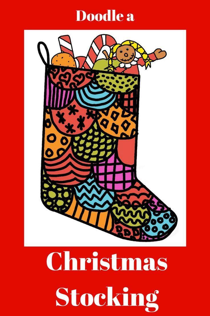 Christmas Stocking Doodle Art Easy art lessons, Art sub