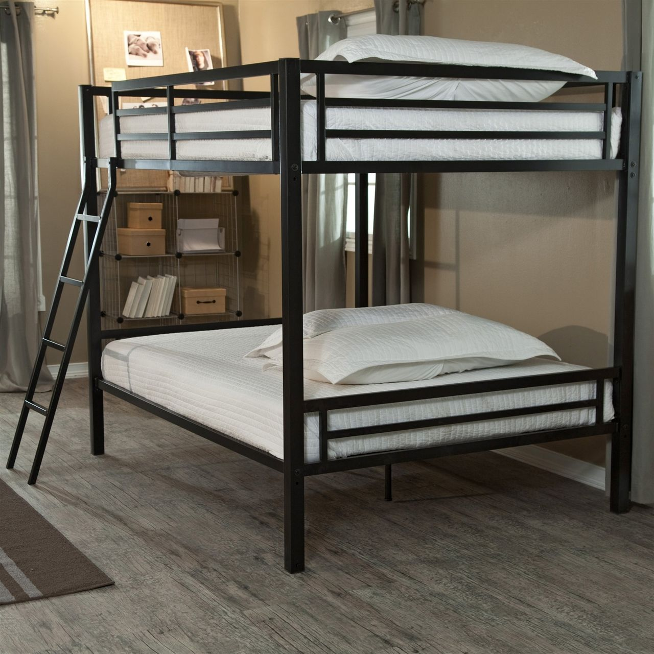 Full over Full Bunk Bed, Ladder, Safety Rails, Black Metal