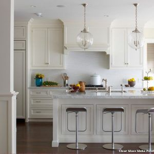 Decorations And HomeAwesome Chain Pendant Lights With Unique Lamps Glass Ball Shades Decorated In Beautiful White Themed Kitchen Interior Idea Awesome