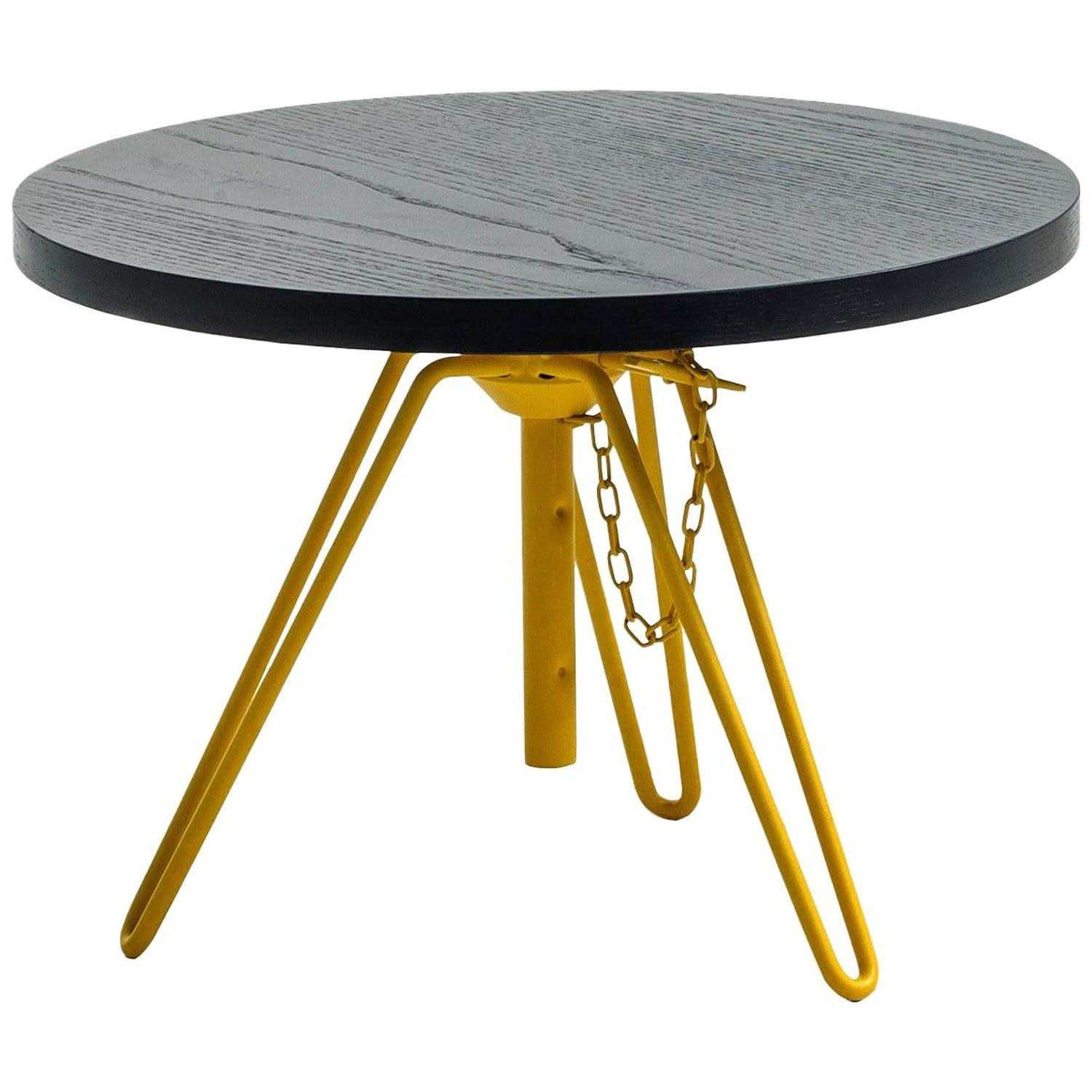 Overdyed Aniline Dyed Ash Veneered Top And Steel Side Table By