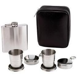 """Maxam 6 Ounce Flask with Collapsible Cup by BF Systems. $10.37. Carrying case measures 6-1/8"""" x 4-3/4"""" x 1-7/8"""". 2 stainless steel collapsible 2oz cups. Zippered carrying case. 6oz stainless steel flask. Bring the party with you-the compact collapsible size of this beverage set makes for impressive portability. Includes 6oz stainless steel flask, 2 stainless steel collapsible 2oz cups and zippered carrying case. Carrying case measures 6-1/8"""" x 4-3/4"""" x 1-7/8""""."""