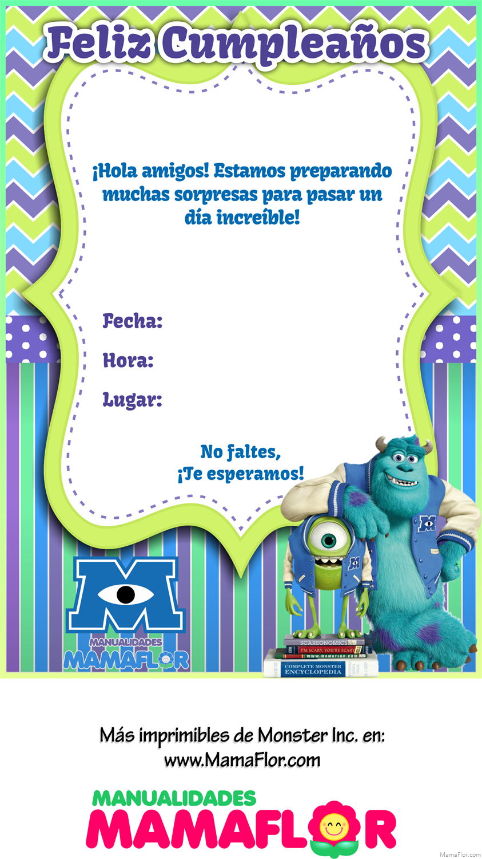 Tarjeta Invitacion Monster Inc University Imprimibles