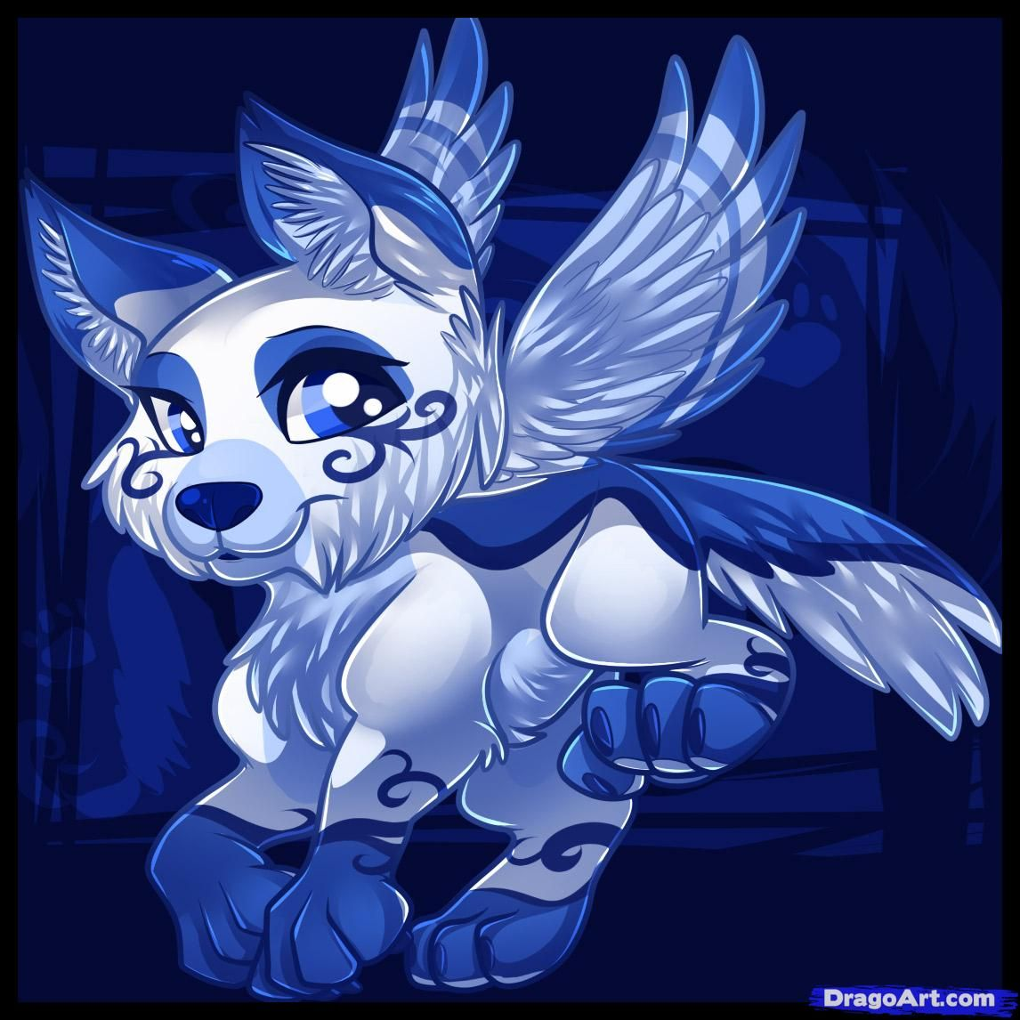 Anime White Wolf With Wings  How To Draw A Flying Wolf, Flying Wolf,
