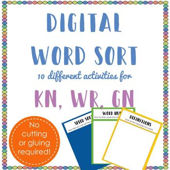 Digital Word Sort for Kn, Wr, and Gn Digital word, Silly sentences