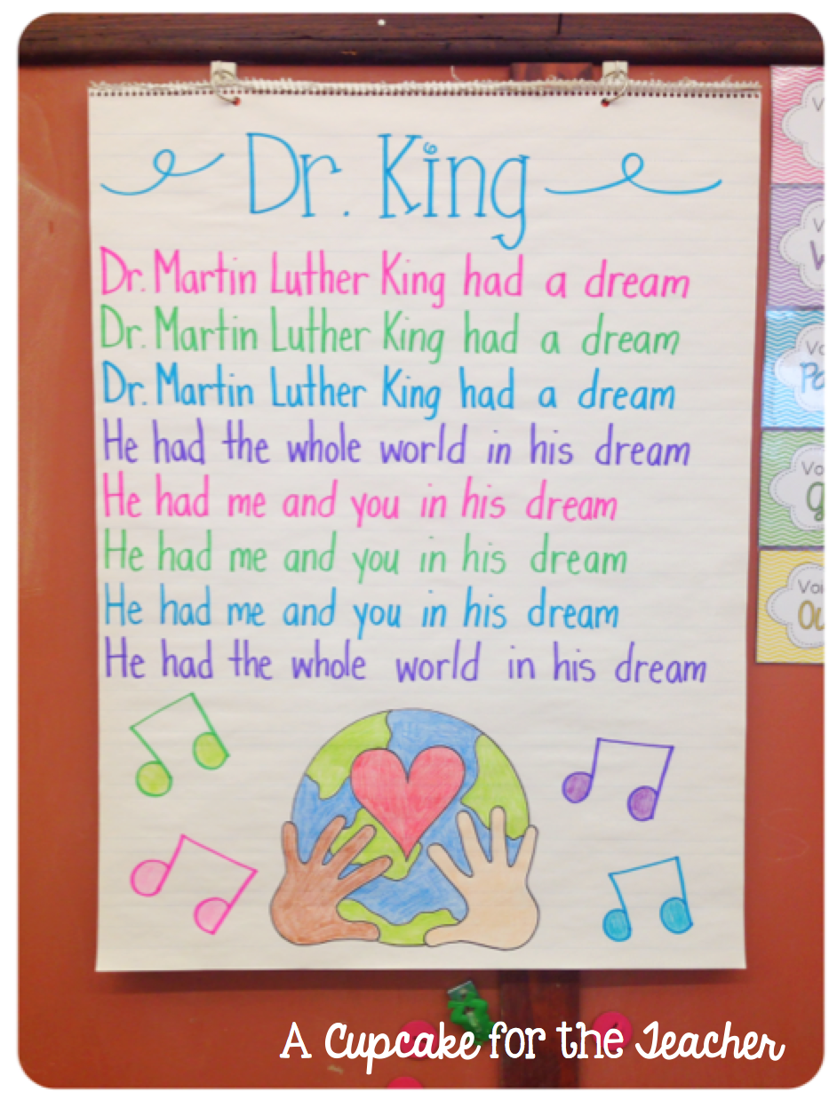 A Cupcake For The Teacher Anchor Chart Eye Candy Martin Luther King Activities Mlk Jr Day Martin Luther King