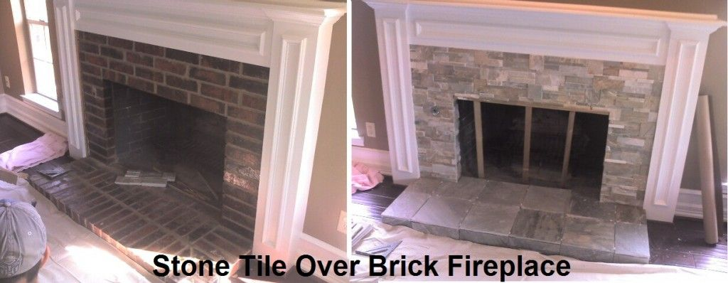 Tile Over Brick Fireplace Before And After Brick Fireplace