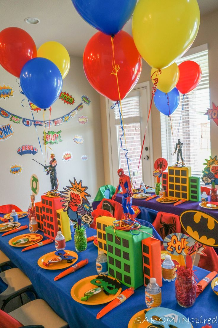 Superhero Birthday Party Decorations Kidsbirthdayparty Kidsbirthdyapartyid Marvel Birthday Party Superman Birthday Party Superhero Birthday Party Decorations
