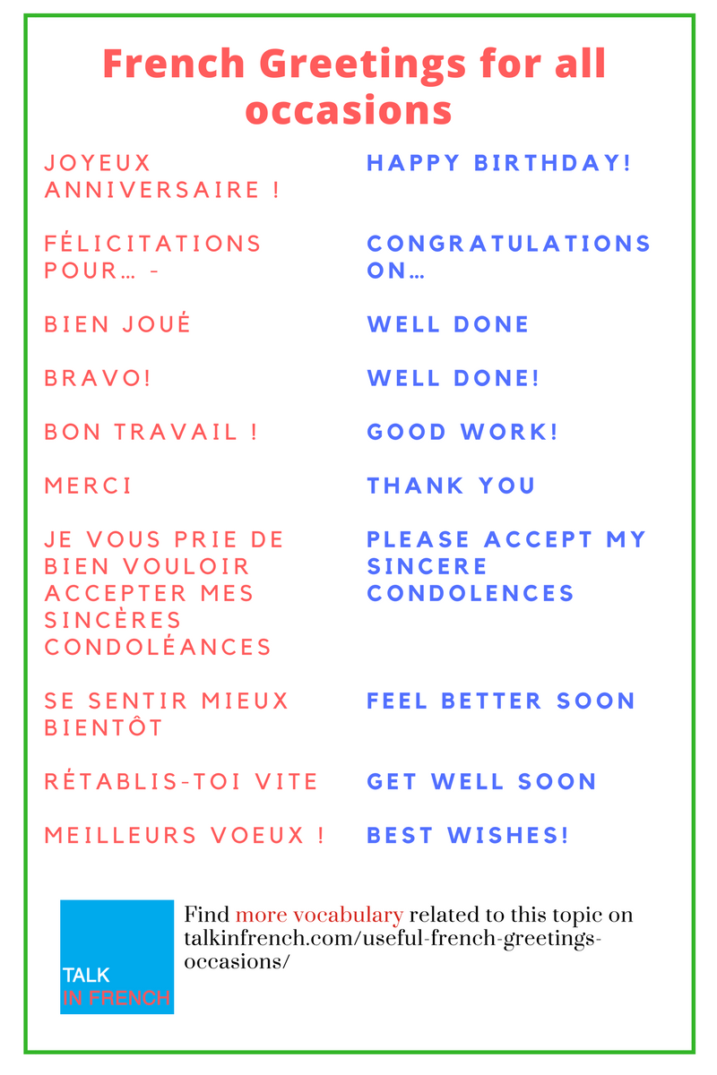 Useful french greetings for all occasions pinterest french download the list in pdf format for free get it here httpstalkinfrenchuseful french greetings occasions m4hsunfo