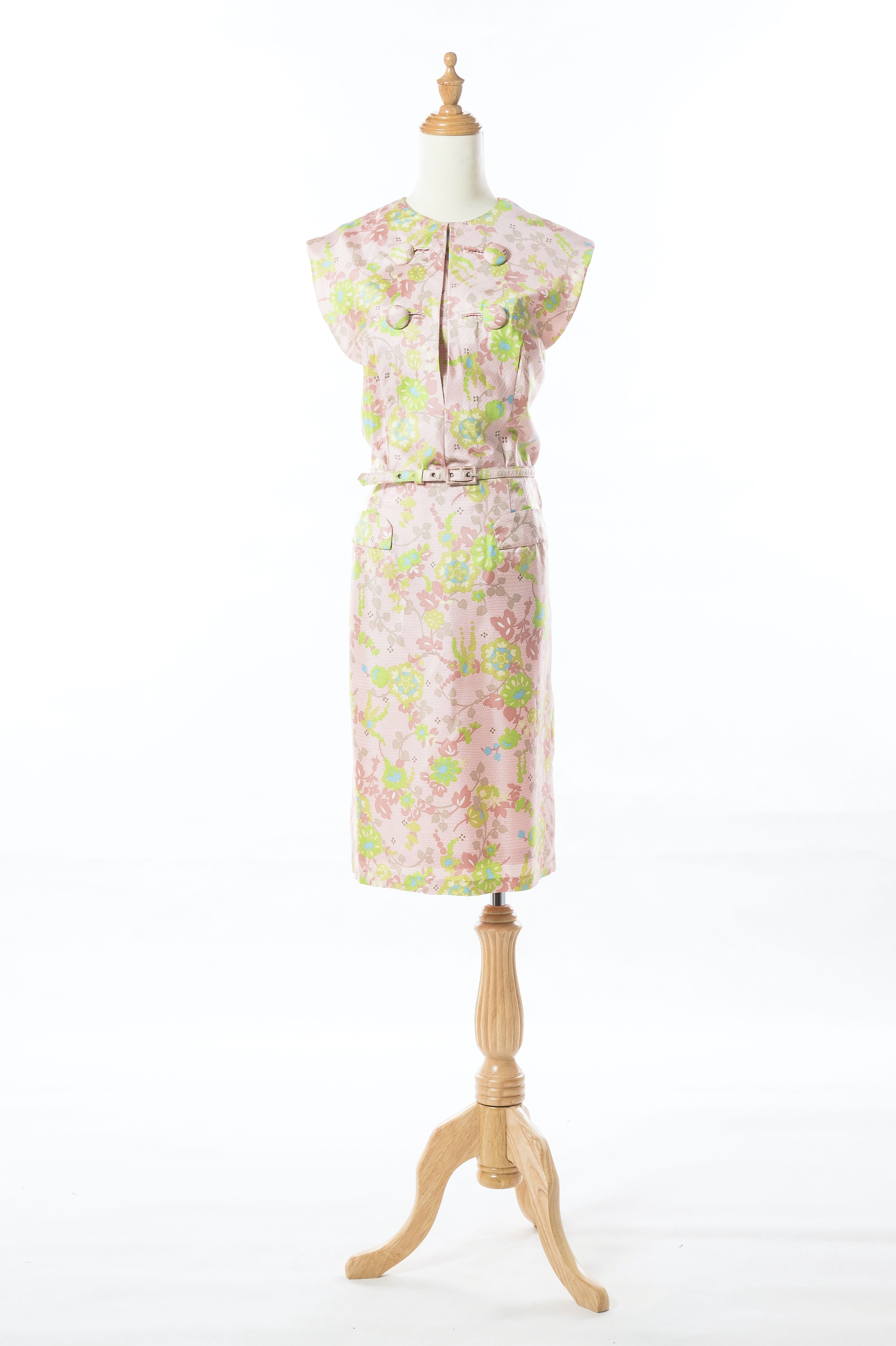 1960s Floral Pastel Pink Asian Inspired Cocktail Dress   Up on ETSY ...