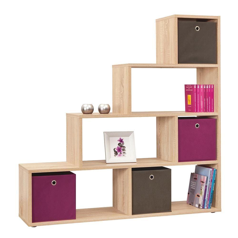 Wooden bookcase shelves room divider brown oak colour living room