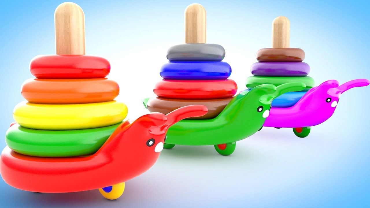 colors for children to learning with snail toy color rings