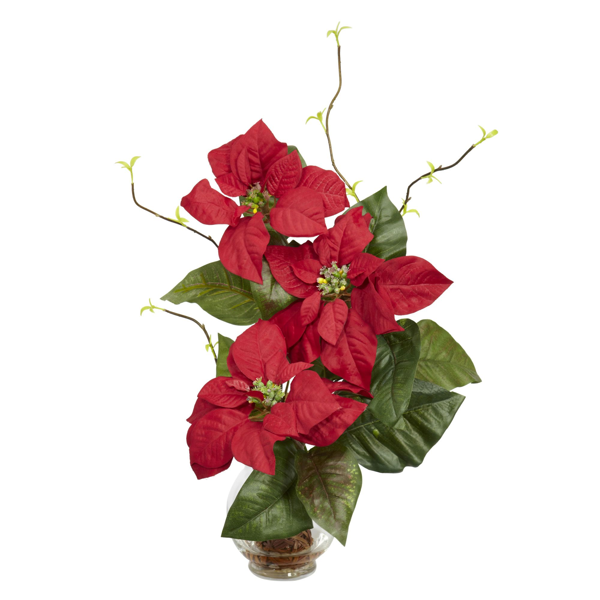 Poinsettia w/Fluted Vase Silk Flower Arrangement (With