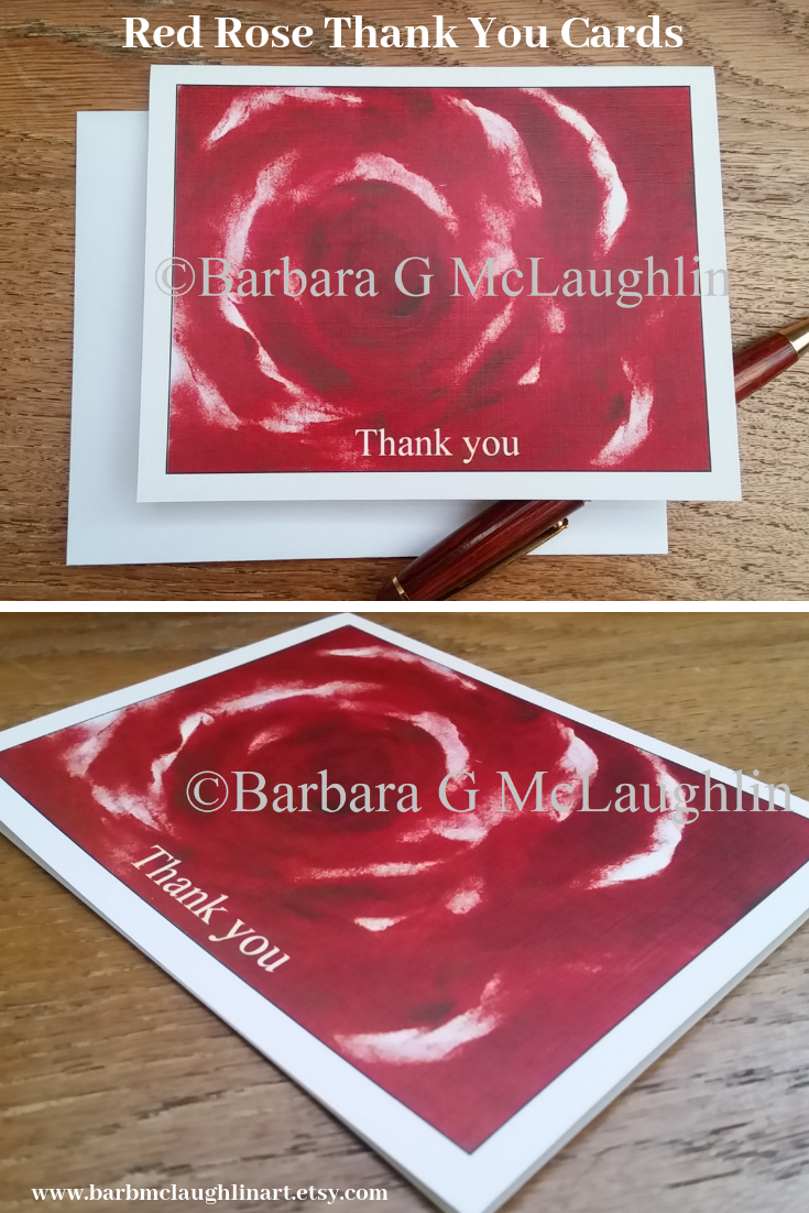 Rose Thank You Card Set With Envelopes. Wedding Thank Yous