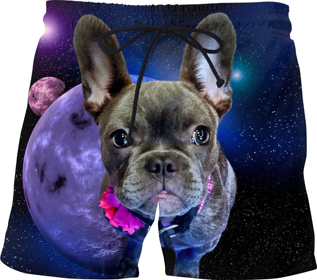 Dog French Bulldog and Galaxy Swim Shorts Kids