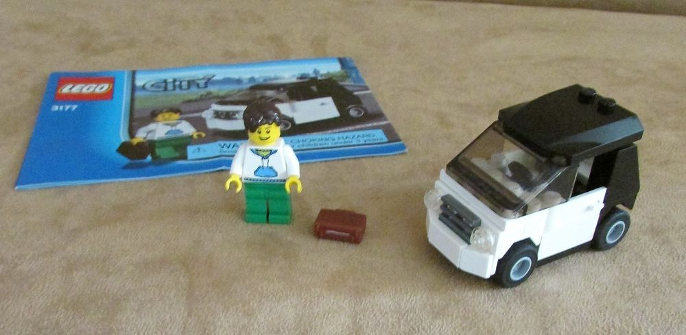3177 Lego City Small Car Complete Instructions Minifig Black Town