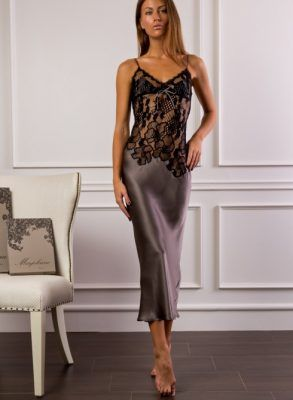 70b172c4010 Marjolaine Elegant Bow Long Silk Nightdress - Heaven Lingerie ...