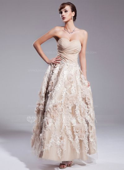4a2c4716c2585 A-Line/Princess Sweetheart Ankle-Length Chiffon Wedding Dress With Ruffle  Appliques Lace Flower(s) Sequins (002012841)