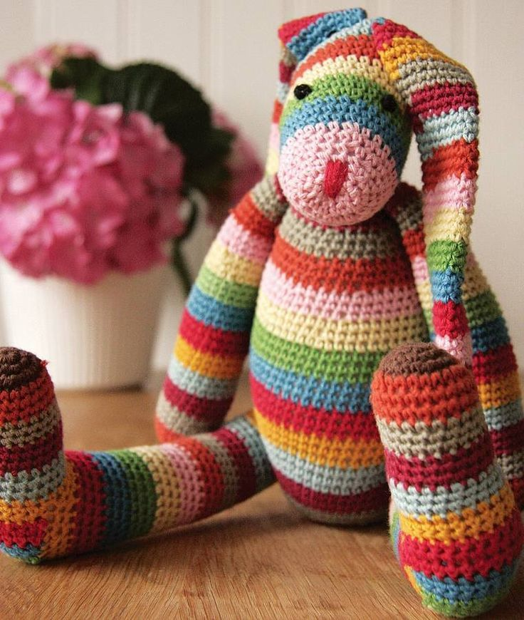 Stripy crocheted bunny