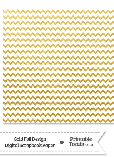 Gold Foil Chevron Digital Scrapbook Paper From Printabletreats