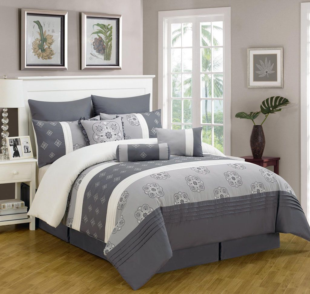 embroidered comforter set comforters good king style ecrinslodge gray