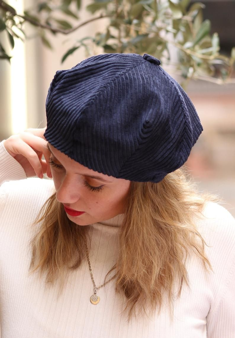 Navy Blue Corduroy Beret Hat For Women Slouchy French Beret Etsy Hats For Women Beret Hat Blue Beanie Hat