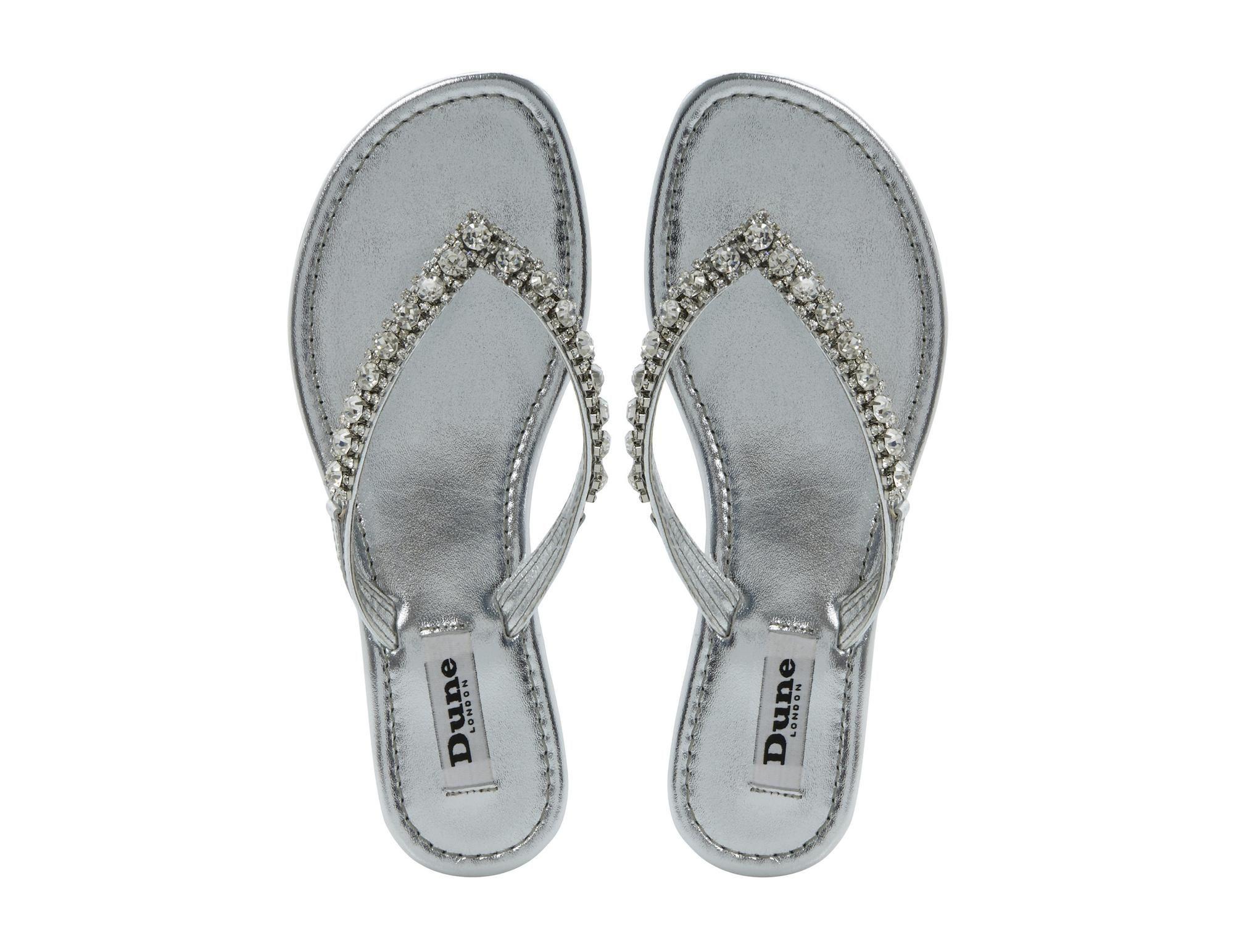 3c53da3d2 DUNE LADIES KIKI - Diamante Toe Post Flat Sandal - silver