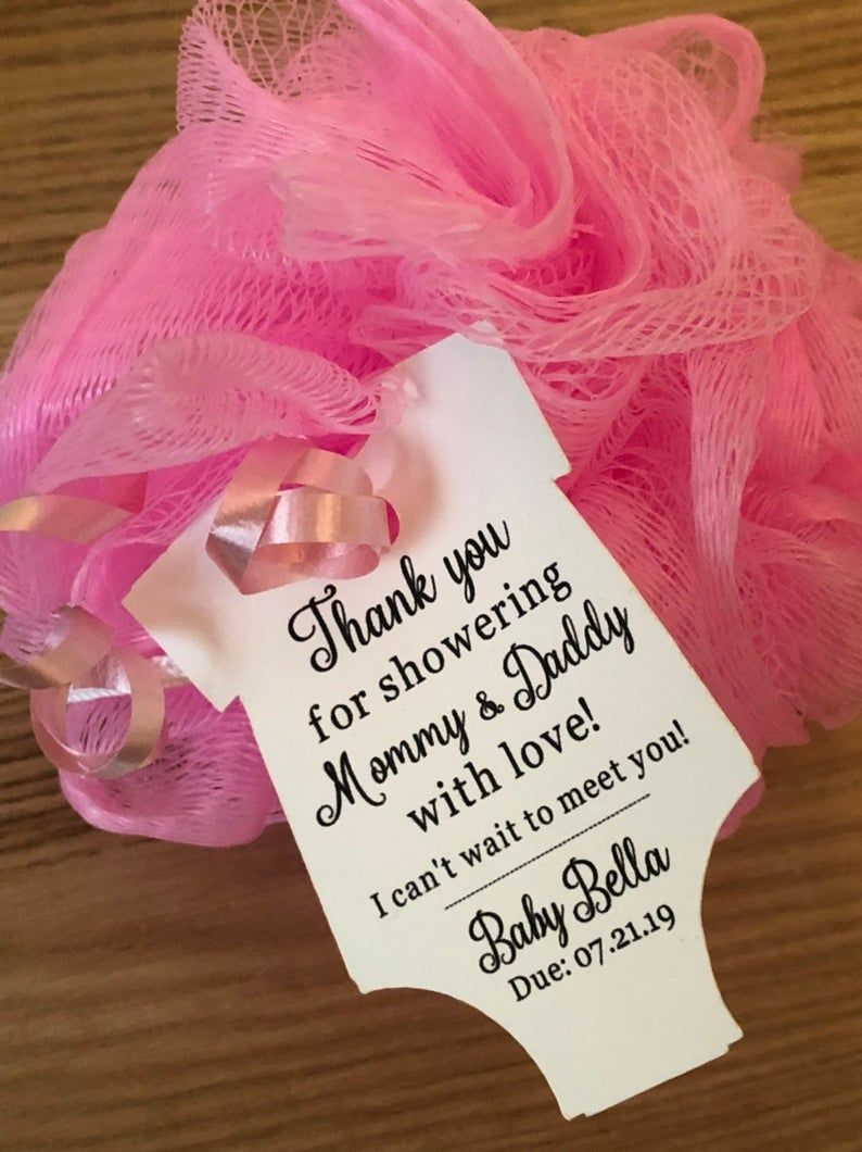 Baby Shower Favor Bath Poufs Loofah Sponges and Tags in