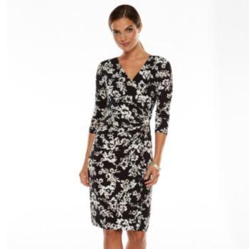 Chaps Floral Ikat Surplice Dress - Women's