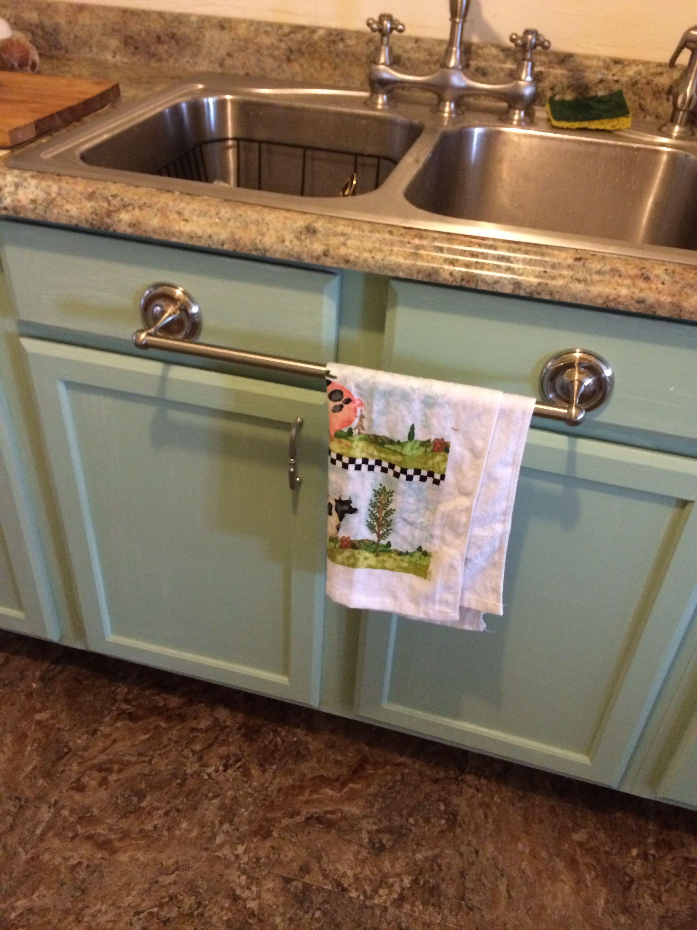 Towel rack on kitchen cabinet, good idea? | Kitchen ...