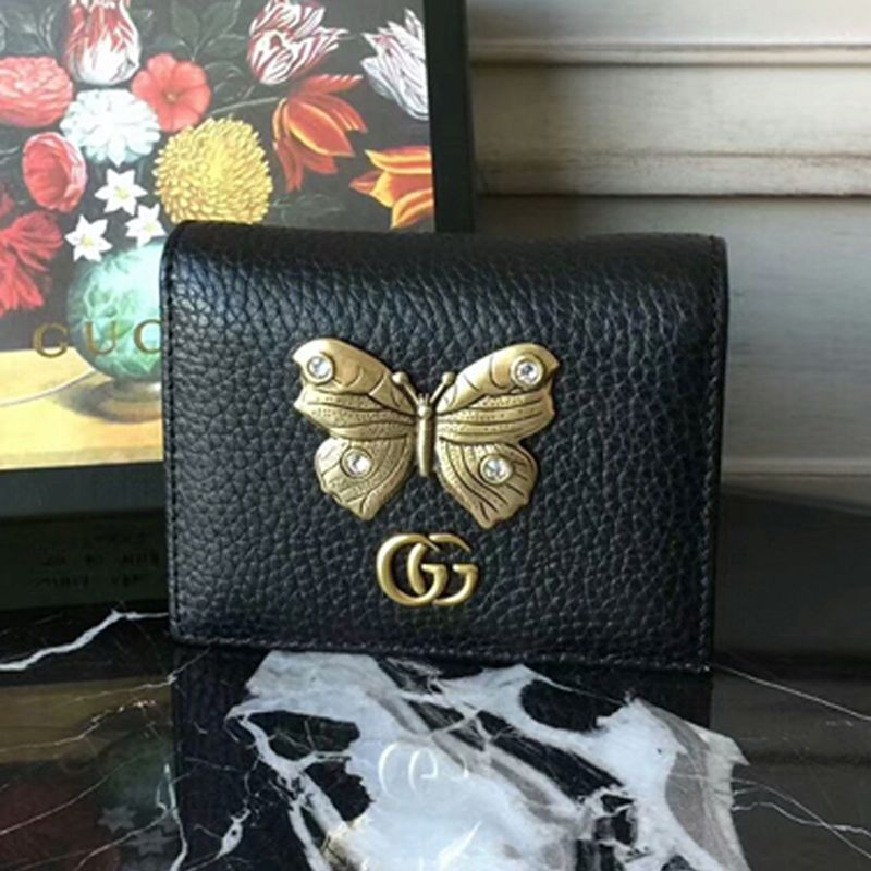 huge selection of 96376 984e4 Gucci Leather Card Case With Butterfly Wallet 499361 Black | Gucci ...