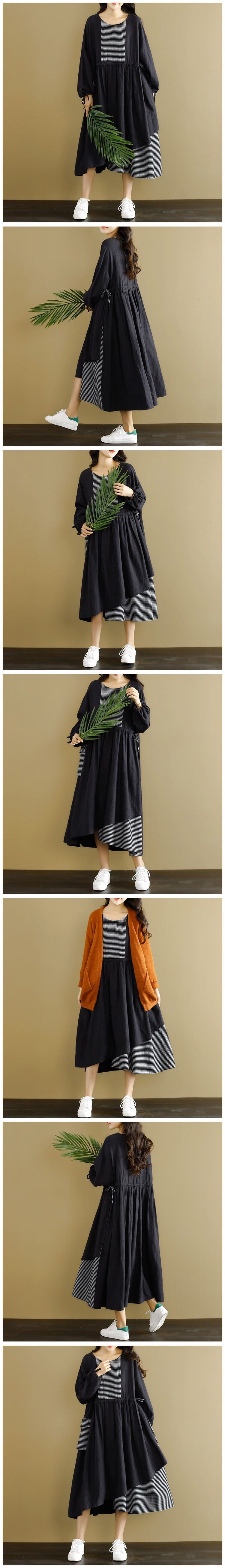 Fabric: Fabric has some stretch Season: Autumn, Spring, Winter Type: Dress Pattern Type: Plain Sleeve Length: Long Sleeve Color: Black Dresses Length:Maxi Style: Casual Material: Cotton Neckline: One