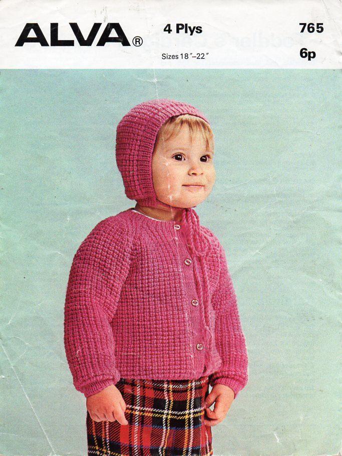 e28634623 Vintage baby ribbed cardigan hat knitting pattern pdf 4ply baby ...