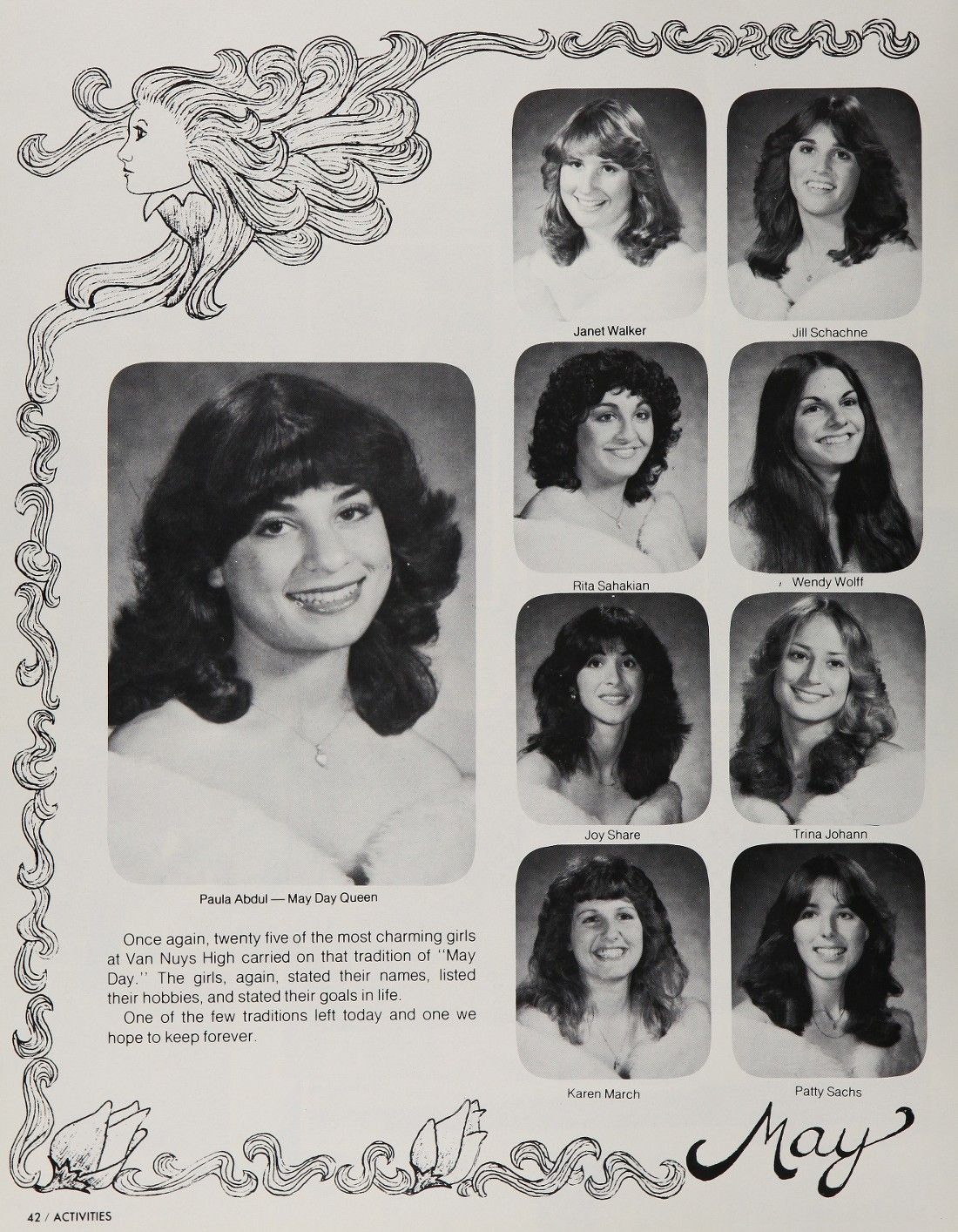 high school yearbook picture of paula abdul from nuys high