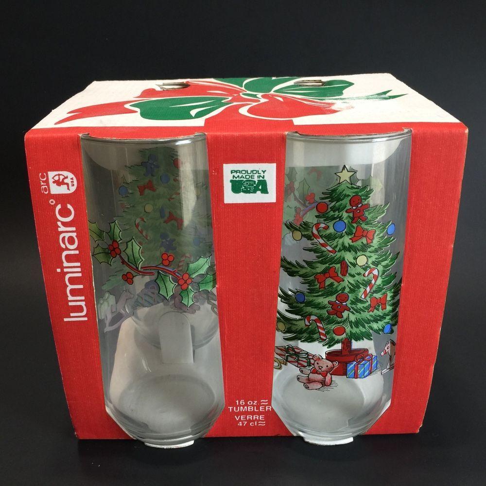 Christmas Glassestree Holly Noel Drinking Tumblers Luminarc Holiday Set Of 4 26102053225 Ebay Christmas Glasses Holiday Set Christmas Drinking Glasses