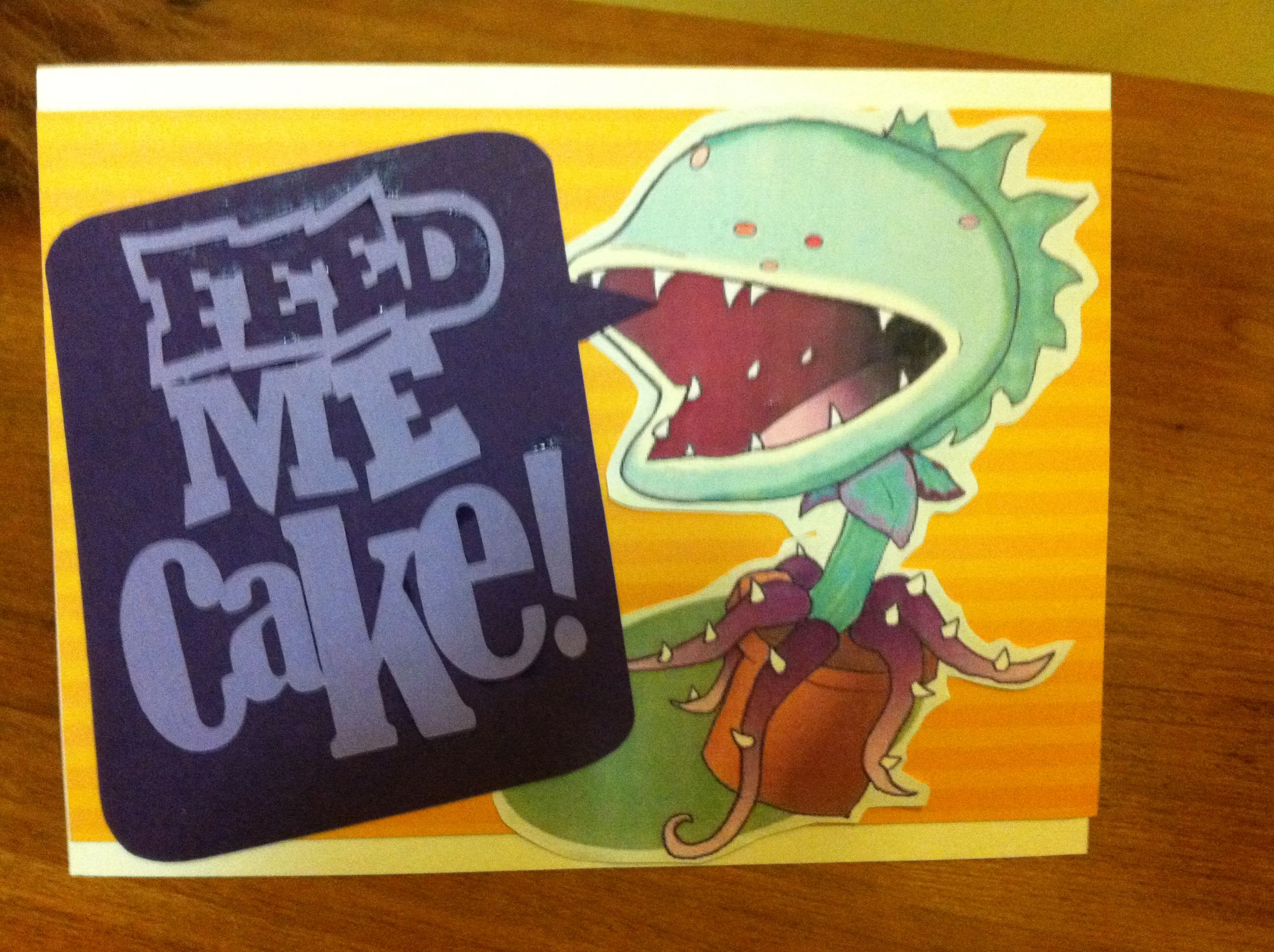 Little Shop of Horrors Birthday Card Seymour says Feed me cake – Birthday Card Shop